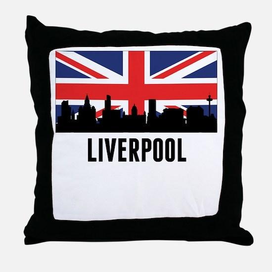 Liverpool British Flag Throw Pillow