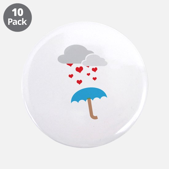 """Umbrella with hearts 3.5"""" Button (10 pack)"""