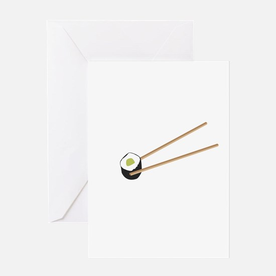 Sushi rolls with chopsticks Greeting Cards
