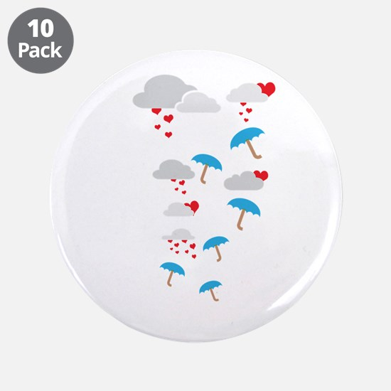 """Umbrellas with hearts 3.5"""" Button (10 pack)"""