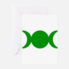 Green Triple Goddess Greeting Cards