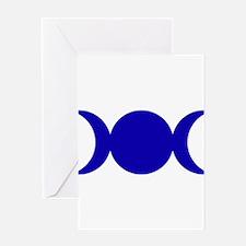 Dark Blue Triple Goddess Greeting Cards