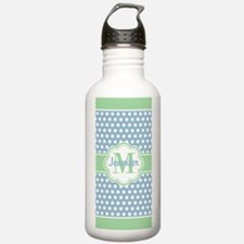 Sky Blue and Green Pol Water Bottle