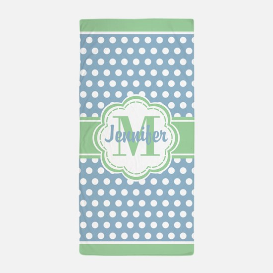 Sky Blue and Green Polka Dots Monogram Beach Towel