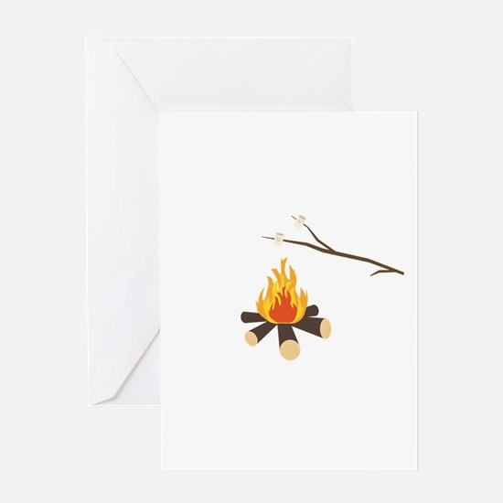 Campfire with marshmallows Greeting Cards