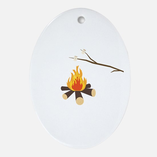 Campfire with marshmallows Oval Ornament
