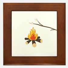 Campfire with marshmallows Framed Tile