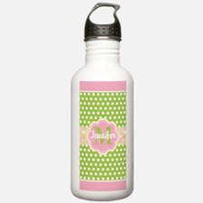 Girly Green Pink Polka Water Bottle