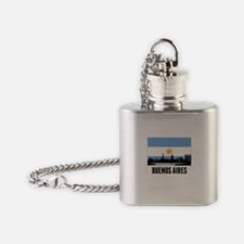 Buenos Aires Argentinian Flag Flask Necklace