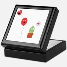 Cactus in love with balloon Keepsake Box