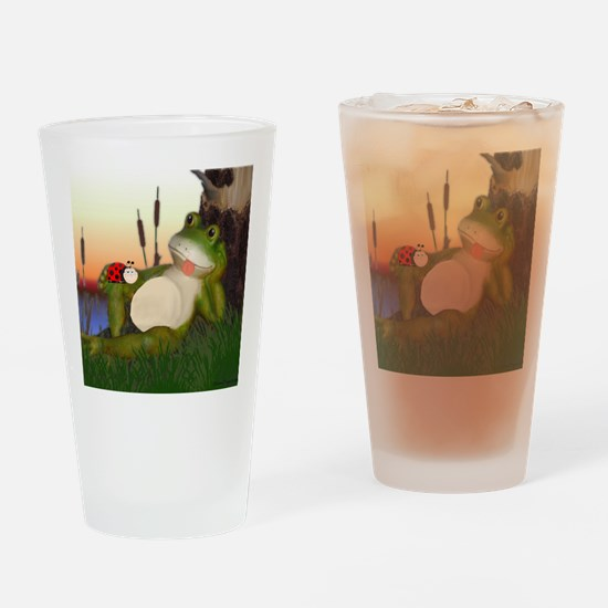 Cute Red eyed tree frog Drinking Glass