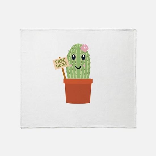 Cactus free hugs Throw Blanket