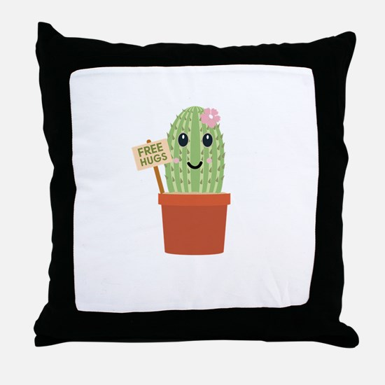 Cactus free hugs Throw Pillow