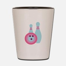 Retro Bowling Ball and Pins Shot Glass