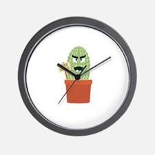 Angry cactus with free hugs Wall Clock