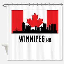 Winnipeg MB Canadian Flag Shower Curtain
