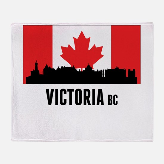 Victoria BC Canadian Flag Throw Blanket