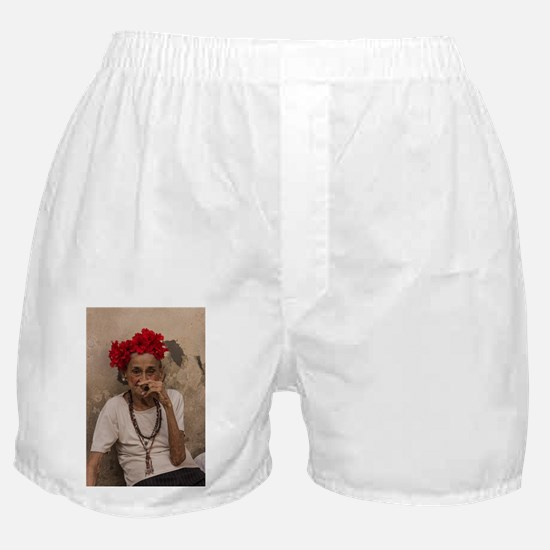 Old lady smoking cuban cigar in Havan Boxer Shorts