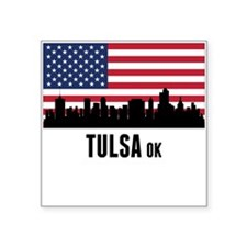 Tulsa OK American Flag Sticker
