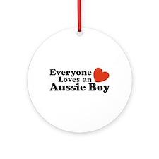 Everyone Loves an Aussie Boy Ornament (Round)