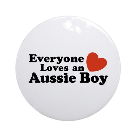 Everyone Loves an Aussie Boy Ornament (Round)