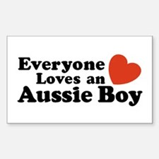 Everyone Loves an Aussie Boy Rectangle Stickers