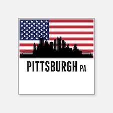 Pittsburgh PA American Flag Sticker