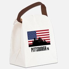 Pittsburgh PA American Flag Canvas Lunch Bag