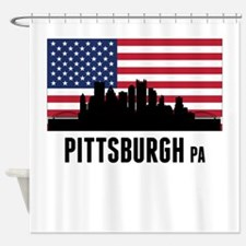 Pittsburgh PA American Flag Shower Curtain