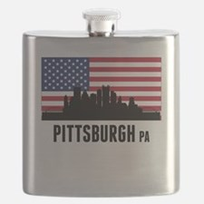 Pittsburgh PA American Flag Flask
