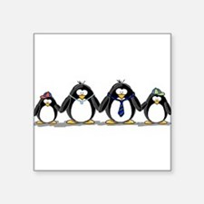 Penguin family with 2 boys Oval Sticker