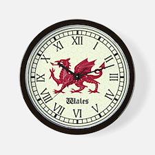 Welsh Dragon Clock with Roman Numerals Wall Clock