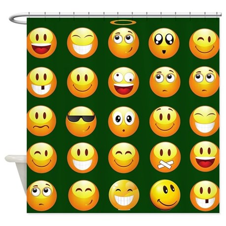 Dark Green Emoji Shower Curtain By Admin CP13506533