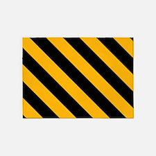 Diagonal Stripes: Black & Gold 5'x7'Area Rug