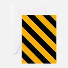 Diagonal Stripes: Black & Gold Greeting Card