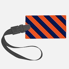 Diagonal Stripes: Orange & Navy Luggage Tag