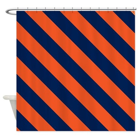 Diagonal Stripes Orange Amp Navy Blu Shower Curtain By