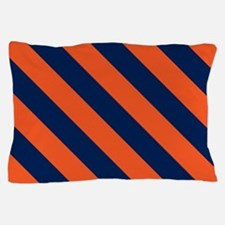 Diagonal Stripes: Orange & Navy Blue Pillow Case
