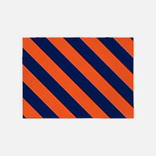 Diagonal Stripes: Orange & Navy Blu 5'x7'Area Rug