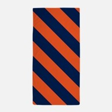 Diagonal Stripes: Orange & Navy Blue Beach Towel
