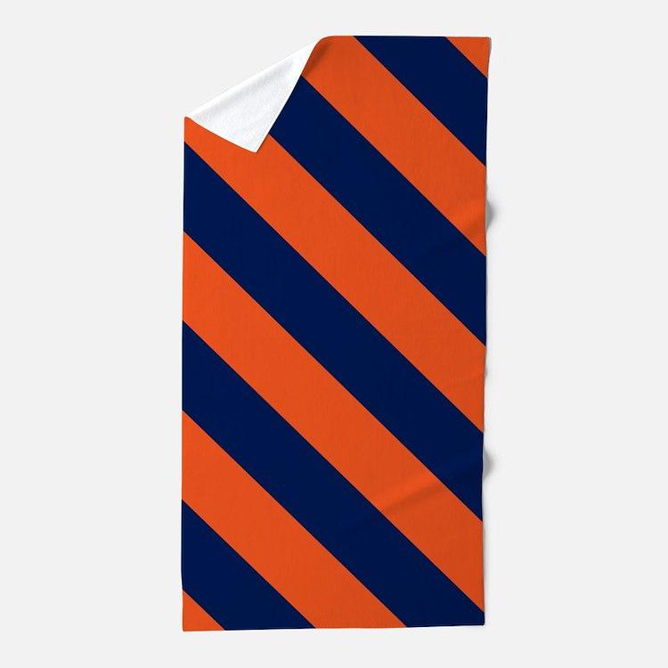 Diagonal Stripes: Orange & Navy Blue Beach Towel