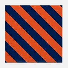 Diagonal Stripes: Orange & Navy Blue Tile Coaster