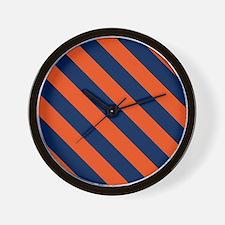 Diagonal Stripes: Orange & Navy Blue Wall Clock