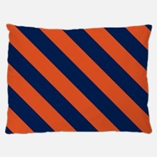 Diagonal Stripes: Orange & Navy Blue Dog Bed