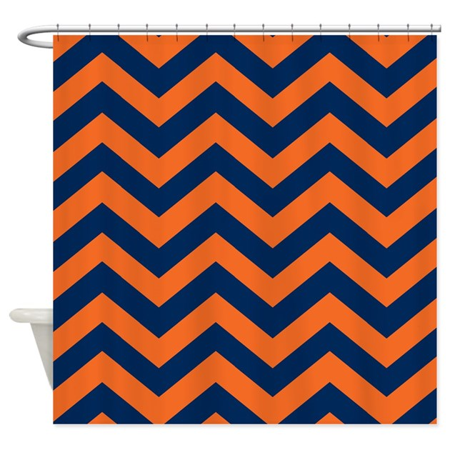 Chevron Pattern Orange Navy Blue Shower Curtain By Colors And Patterns 1