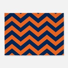 Chevron Pattern: Orange & Navy Blue 5'x7'Area Rug