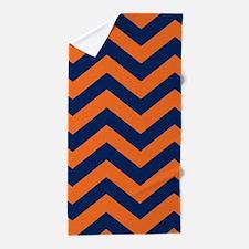 Chevron Pattern: Orange & Navy Blue Zi Beach Towel