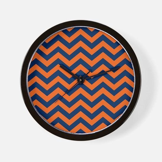 Chevron Pattern: Orange & Navy Blue Zig Wall Clock