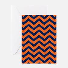 Chevron Pattern: Orange & Navy Blue Greeting Card