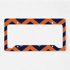 Chevron Pattern: Orange & Nav License Plate Holder
